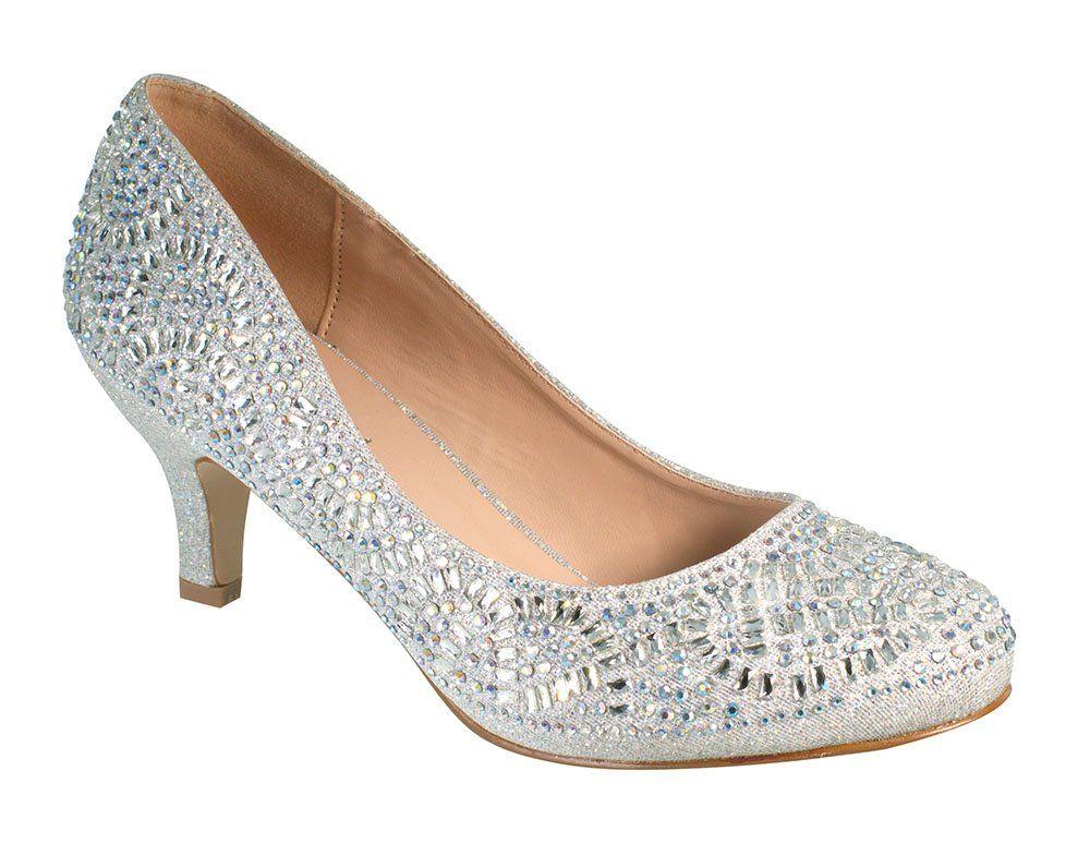 Bertha14 womens round toe low heel rhinestone wedding