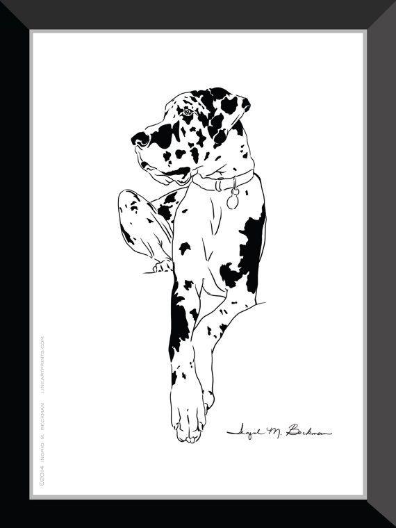 Harlequin Great Dane Print Dog Wall Art 5x7 Room By Lineartprints