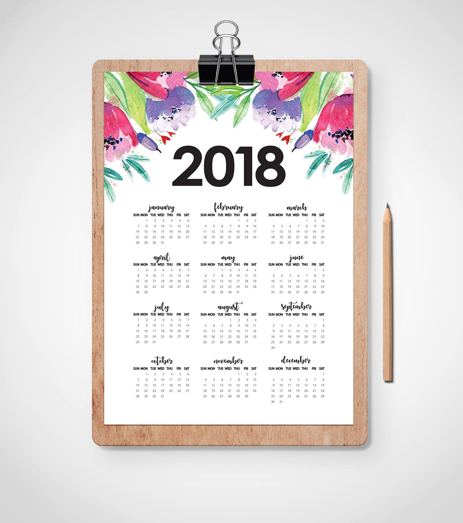 Watercolor Floral  Wall Calendar   Year Calendar  X