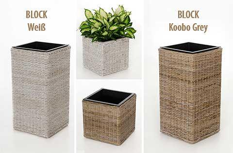 Rattan Blumenkübel pflanzkübel block aus rattan korbwaren in koobo grey