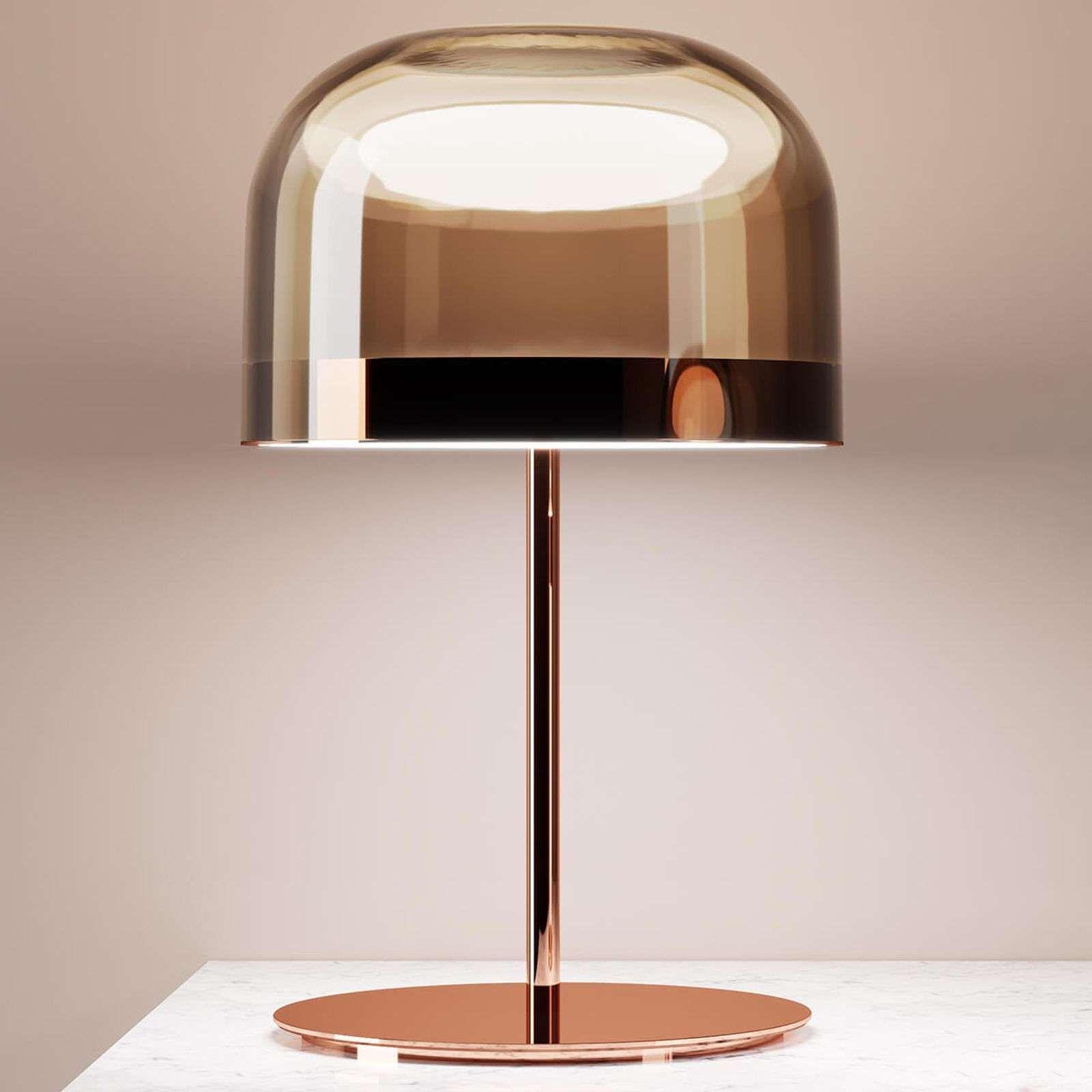 Lampe A Poser Led Equatore En Cuivre 60 Cm In 2020 Copper Table Lamp Lamp Copper Table