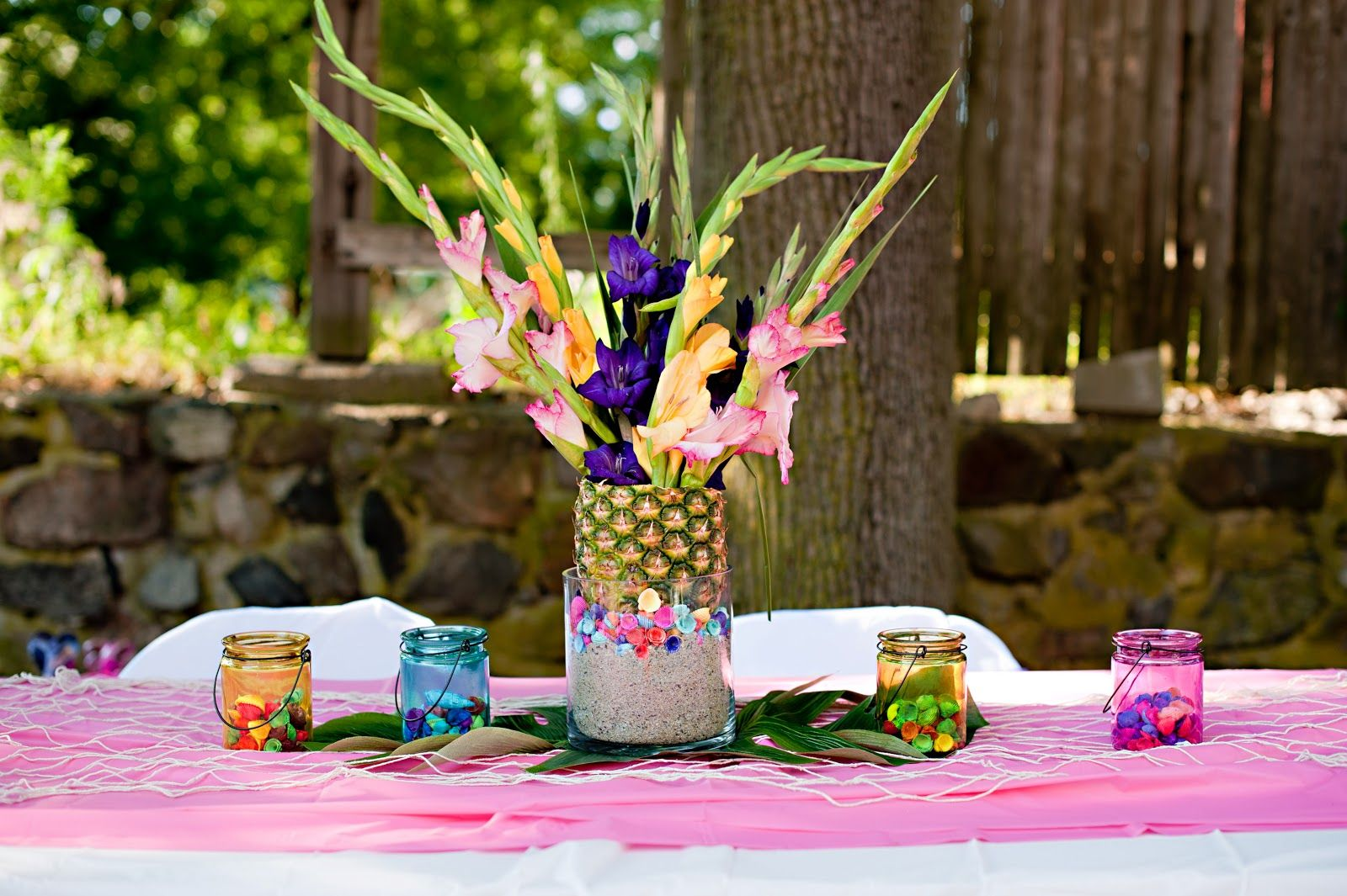 luau party table decoration ideas | The adult\'s tables had a ...