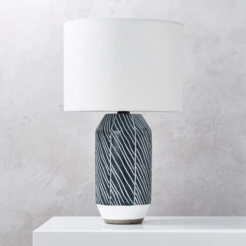 Shop tome blue green table lamp hand formed on a potters wheel using locally