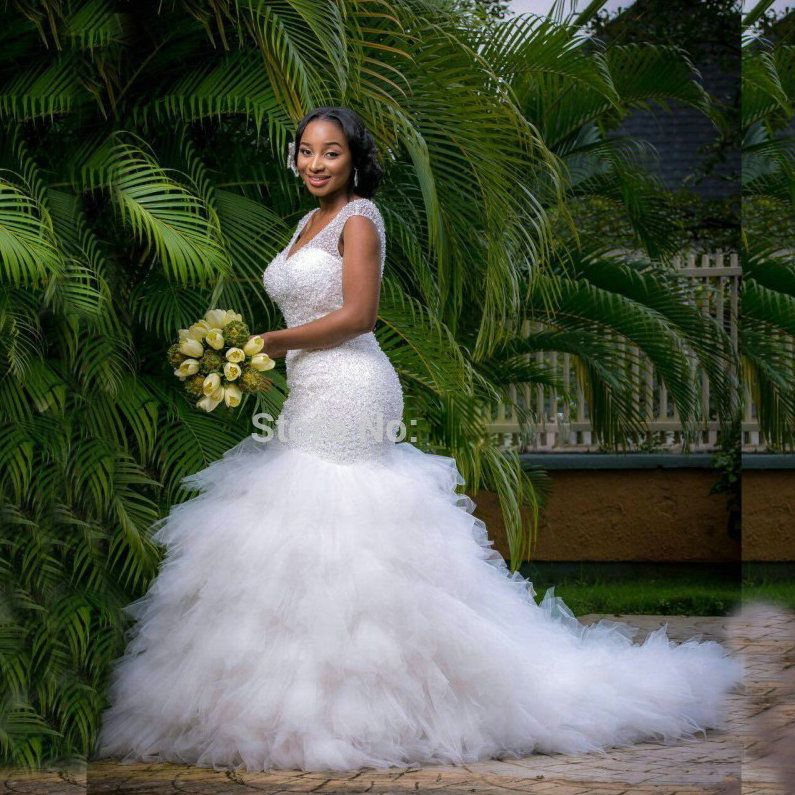 Click To Buy Luxury Crystals Puffy Kaftan Dubai Mermaid Wedding Dresses Long