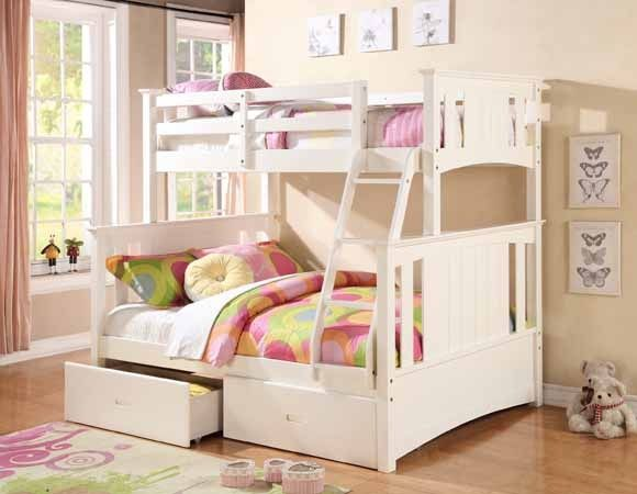 Bedroom Sets Jerome S jerome collection white finish wood twin over full bunk bed set