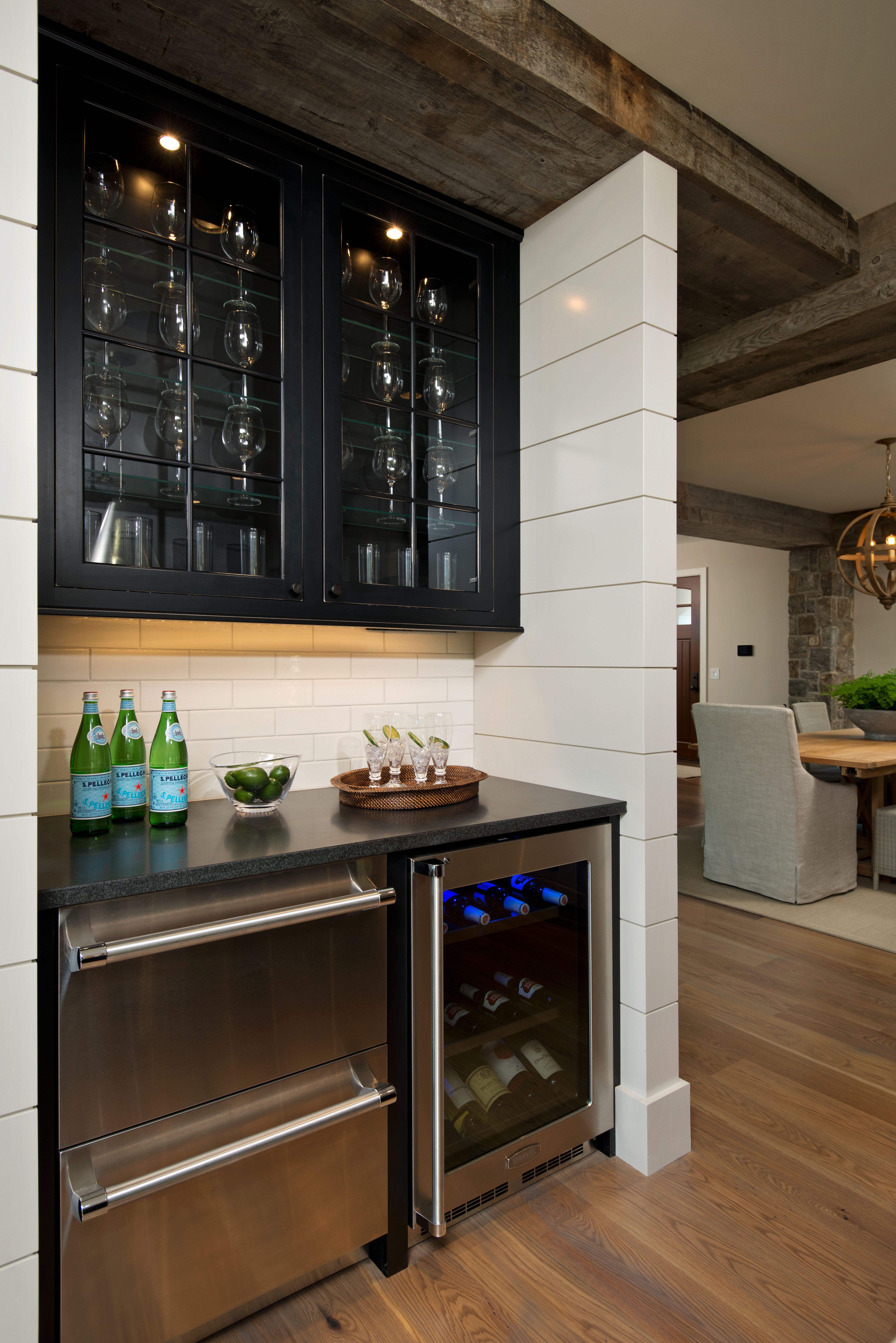 a built in mini bar in the kitchen makes for easy