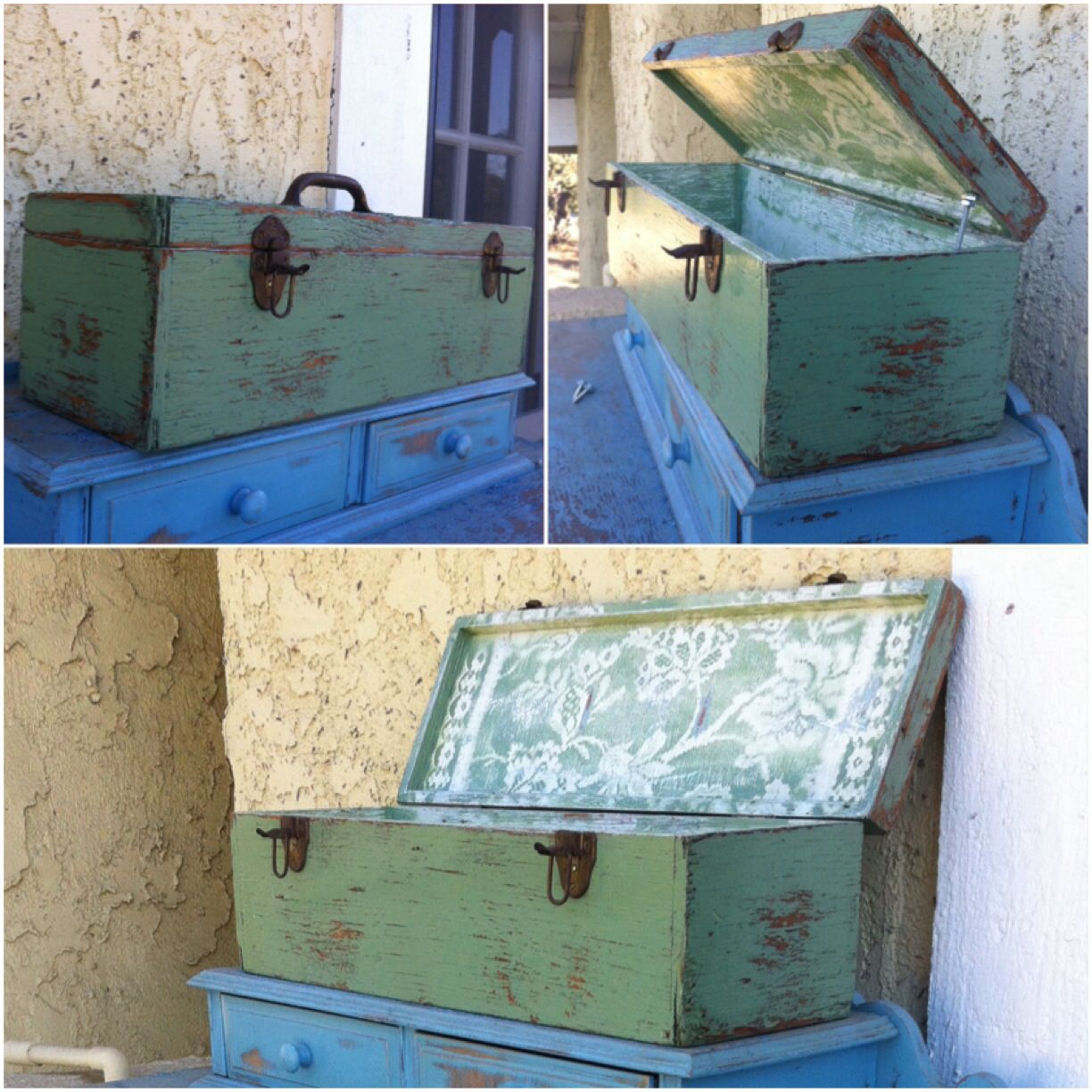 Toolbox, mint green w/ paisley floral lace pattern, ReincarnatedWithLove items available for sale on etsy - or contact me at elliebelly30@icloud.com, mint green toolbox, toolchest, shabby chic toolbox, feminine toolbox, distressed painted, country cottage, chippy paint toolbox, chippy painted, weathered, French apartment, farmhouse, beach house, beach house decor, beachhouse, green, farmhouse furniture, farmhouse decor, unique toolbox ideas, painted toolbox, weathered toolbox, handmade…