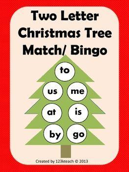 Christmas Tree Two Letter Word Match/ Bingo | K Christmas