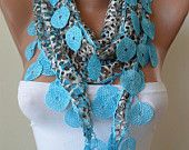 SALE - Perforated Fabric - Blue Scarf with Blue Trim Edge - Summer Design