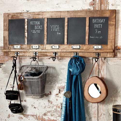 Porte manteaux et tableau m mo en pin h bsch sur decoclico for Decoration de cuisine en crochet