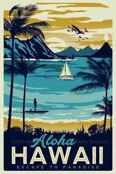 Hawaii Retro Vintage Travel Poster Surf Palm Trees