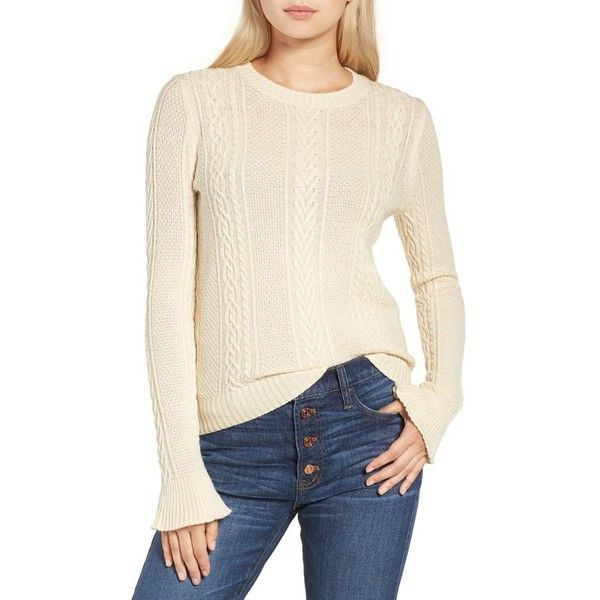 50d58cc948 Women s J.crew Ruffle Sleeve Cable Crewneck Sweater (305 ILS) ❤ liked on