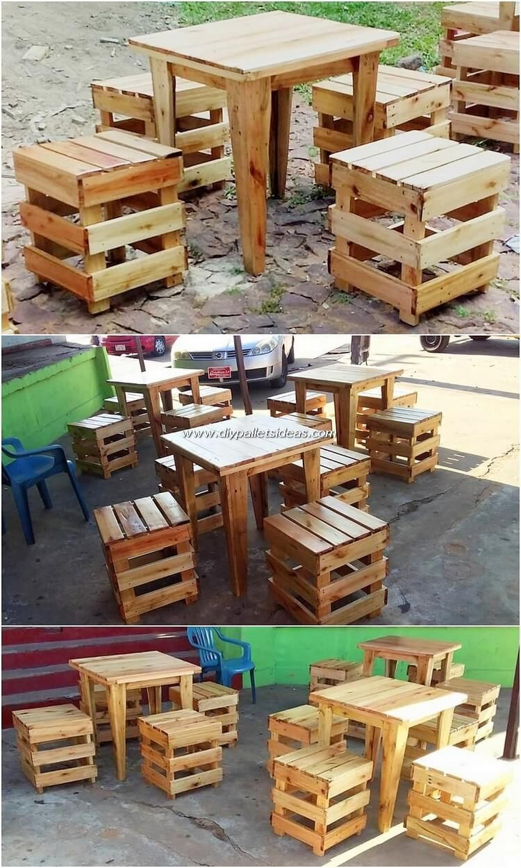 Make A Simple Table And Stools Out Of Old Pallets Pallet Projects Are Awesome Especially When They Are Simple Wood Pallets Pallet Diy Pallet Garden Furniture