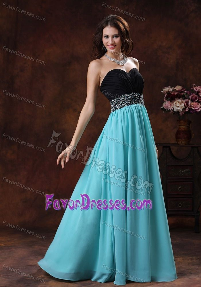 Turquoise And Black Long Bridesmaid Dresses Sweetheart Beaded Long