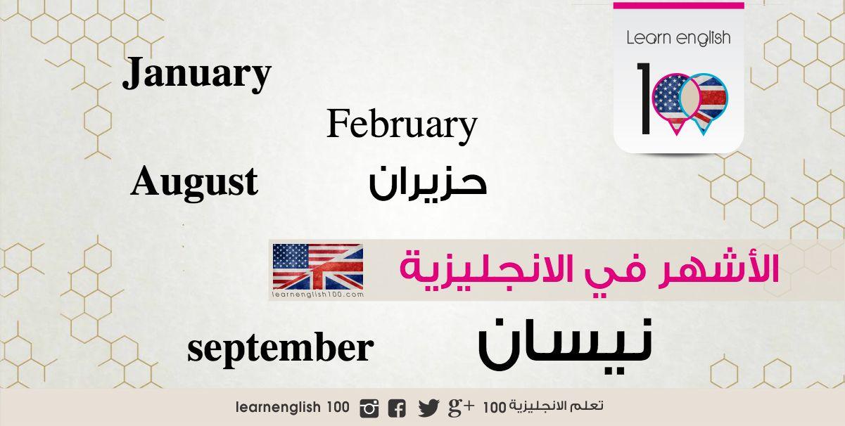 الاشهر بالانجليزي والعربي بالترتيب واختصاراتها Grammar