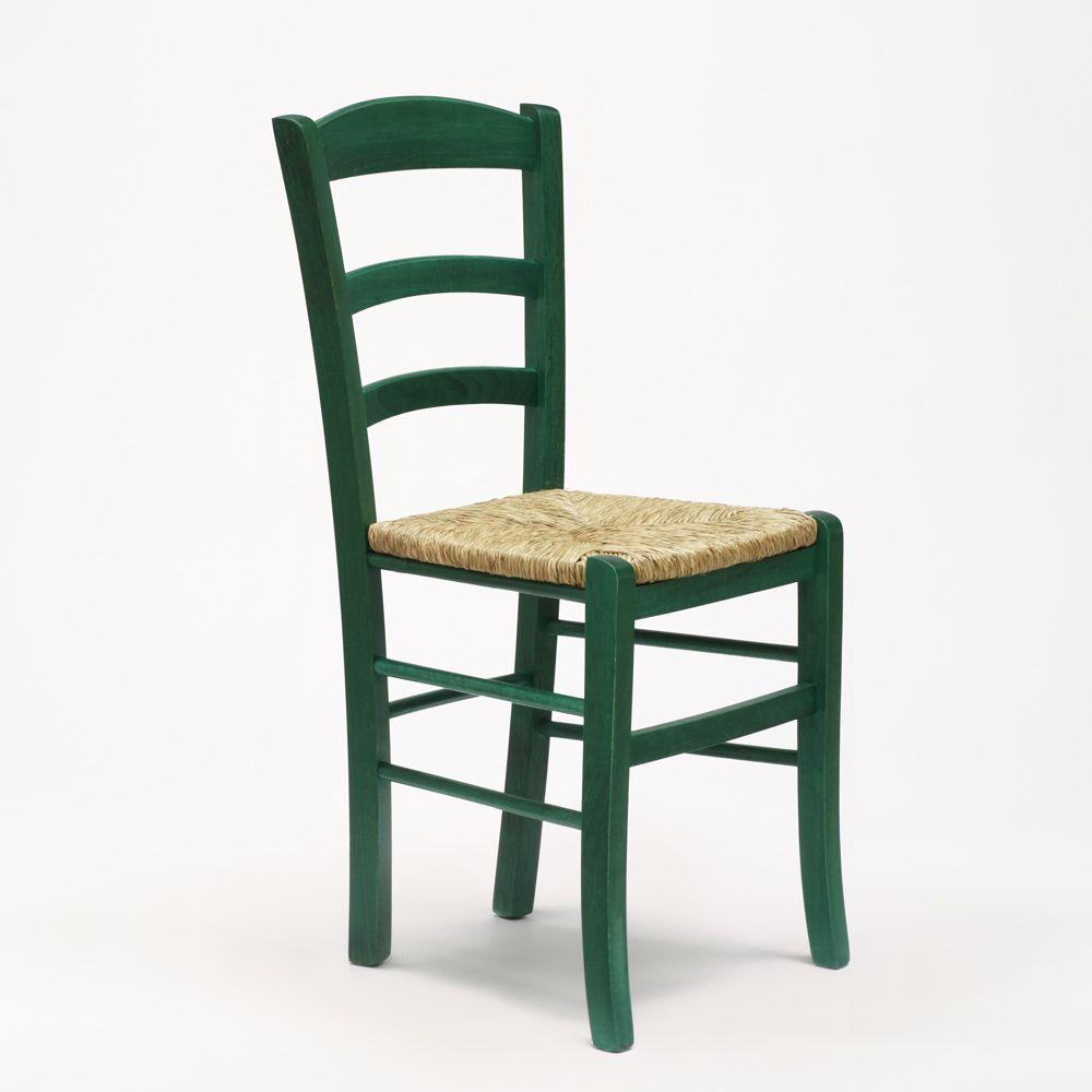 Sedia in legno e seduta impagliata per cucina bar e