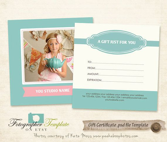 Gift Certificate Card Template Photography by PhotographerTemplate - photography gift certificate template