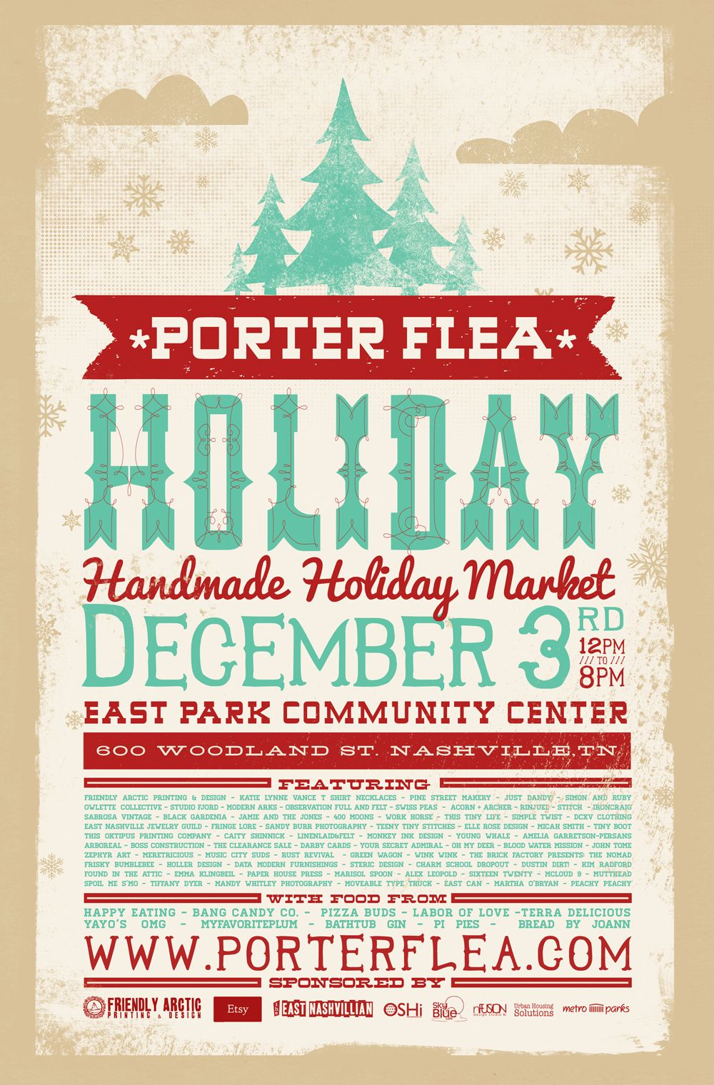 Poster design and printing - Friendly Arctic Printing Design Porter Flea Market Nashville Poster