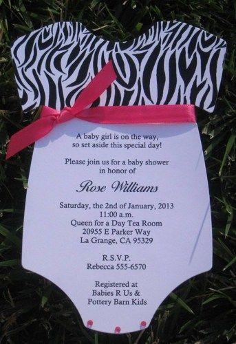 zebra print hot pink onesie baby shower invitations diecut,