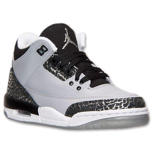 3c3f277dab5 good boys grade school air jordan retro 3 basketball shoes finish line wolf  grey metallic silver