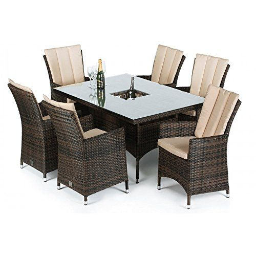 san diego rattan garden furniture 6 seater rectangle table set with ice bucket - Rattan Garden Furniture 6 Seater