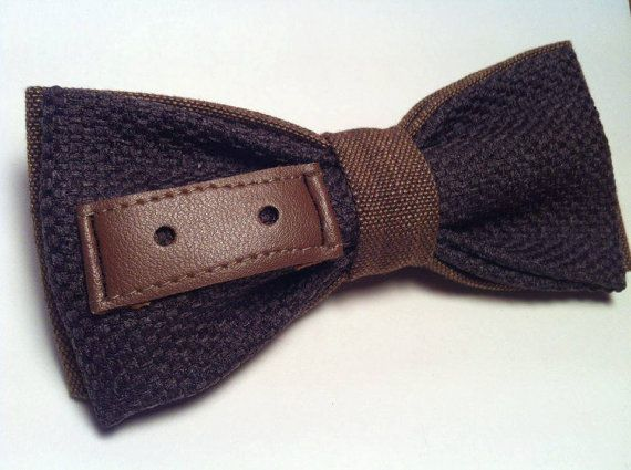 PAPILLON  Brown con motivo decorativo in Pelle Bow Tie di Idillyum