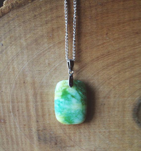 Light green stone pendant by OhDeerAndFox on Etsy, $12.00