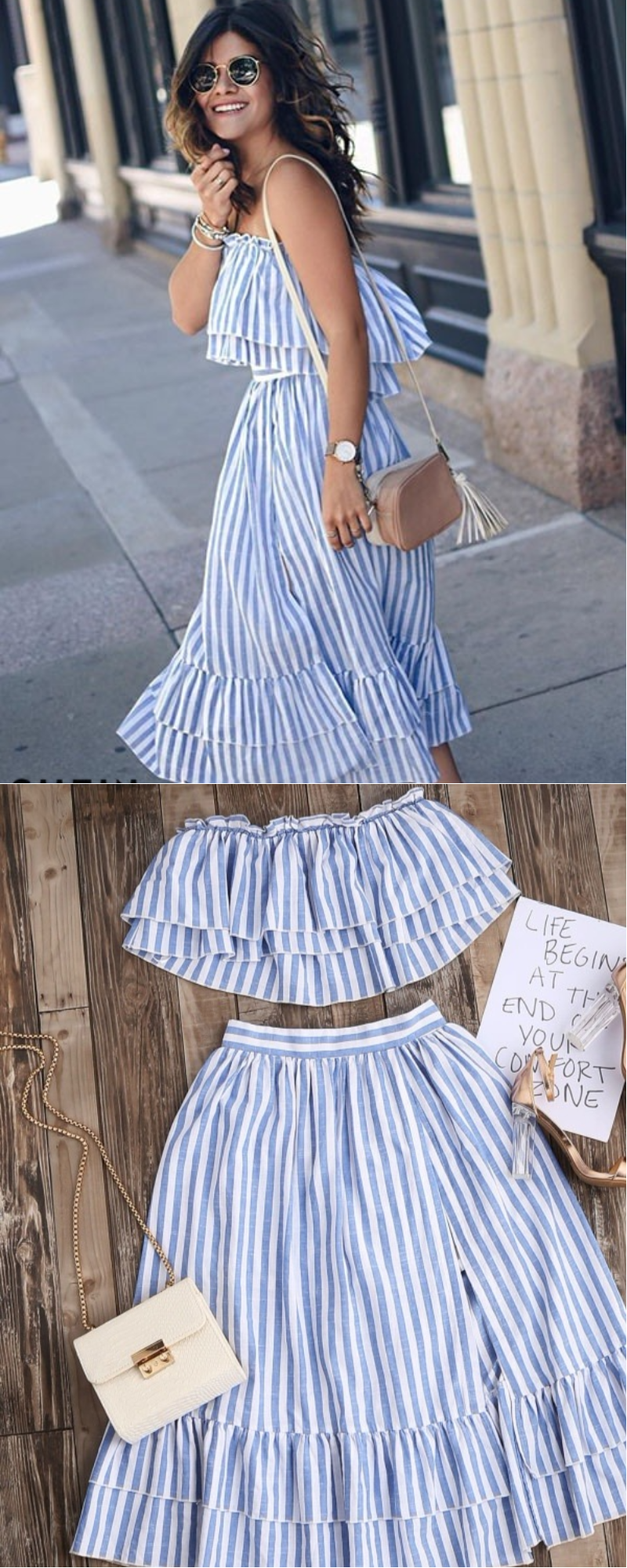 Blue Striped Flyaway Bandeau Top And Ruffle Skort Set - they have womens two  piece outfits and super cute womens skirt sets! This blue striped dress is  ... 37cee34a088f