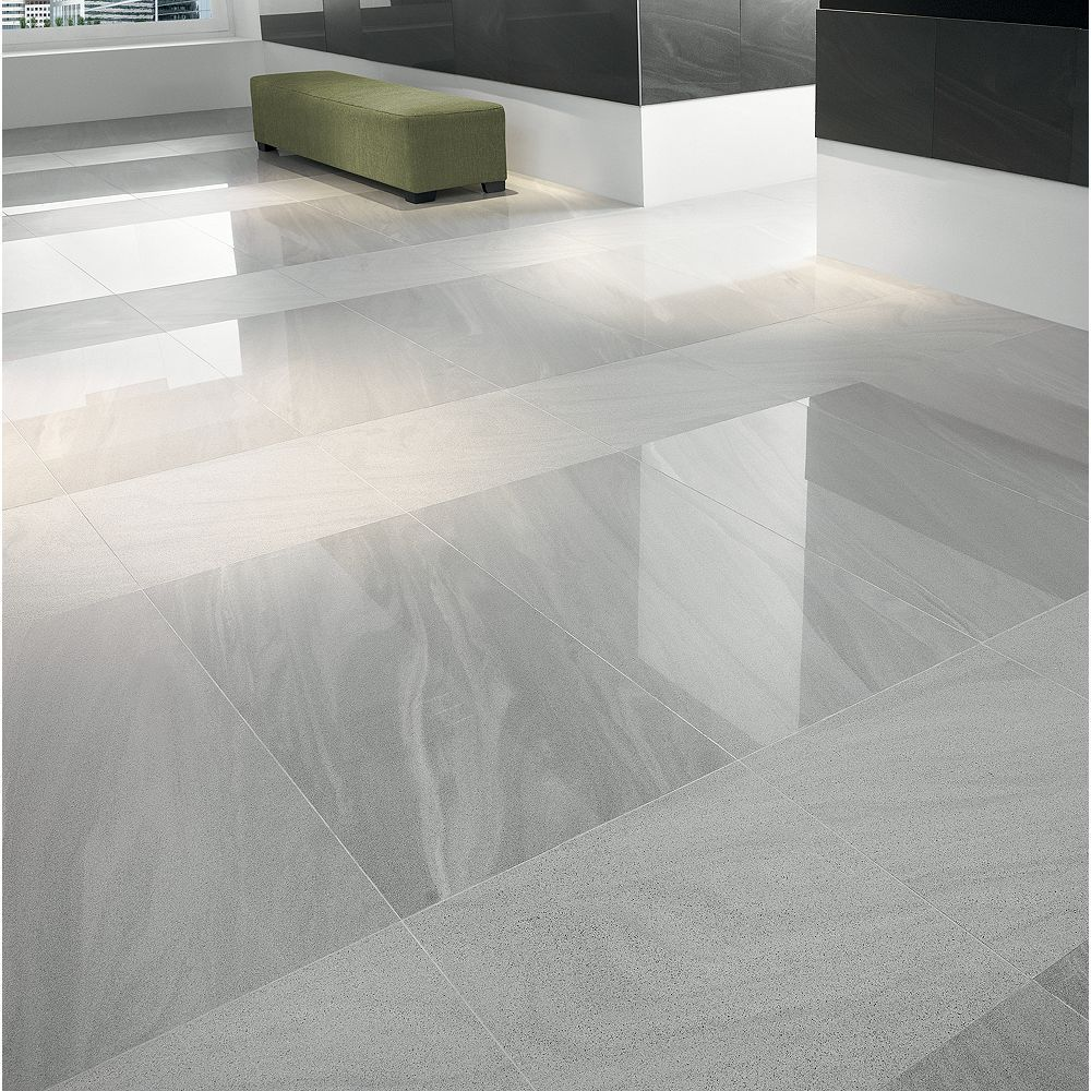 Wickes Arkesia Gris Polished Porcelain Floor Tile 9 x 9mm in ...
