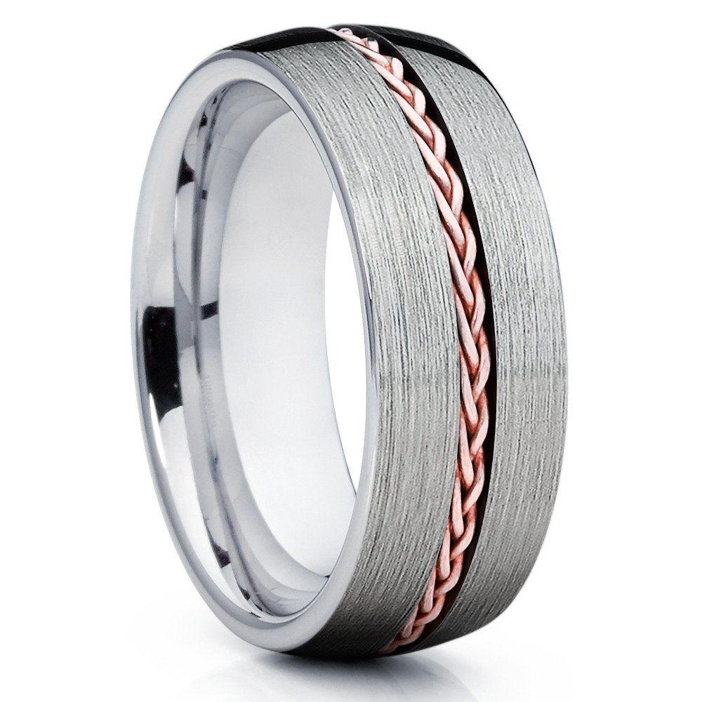 8mm Tungsten Wedding Band Rose Gold Braid Ring Men's