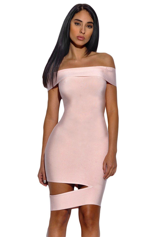 Peach Off The Shoulder Cut Out Bandage Dress   Vestiditos