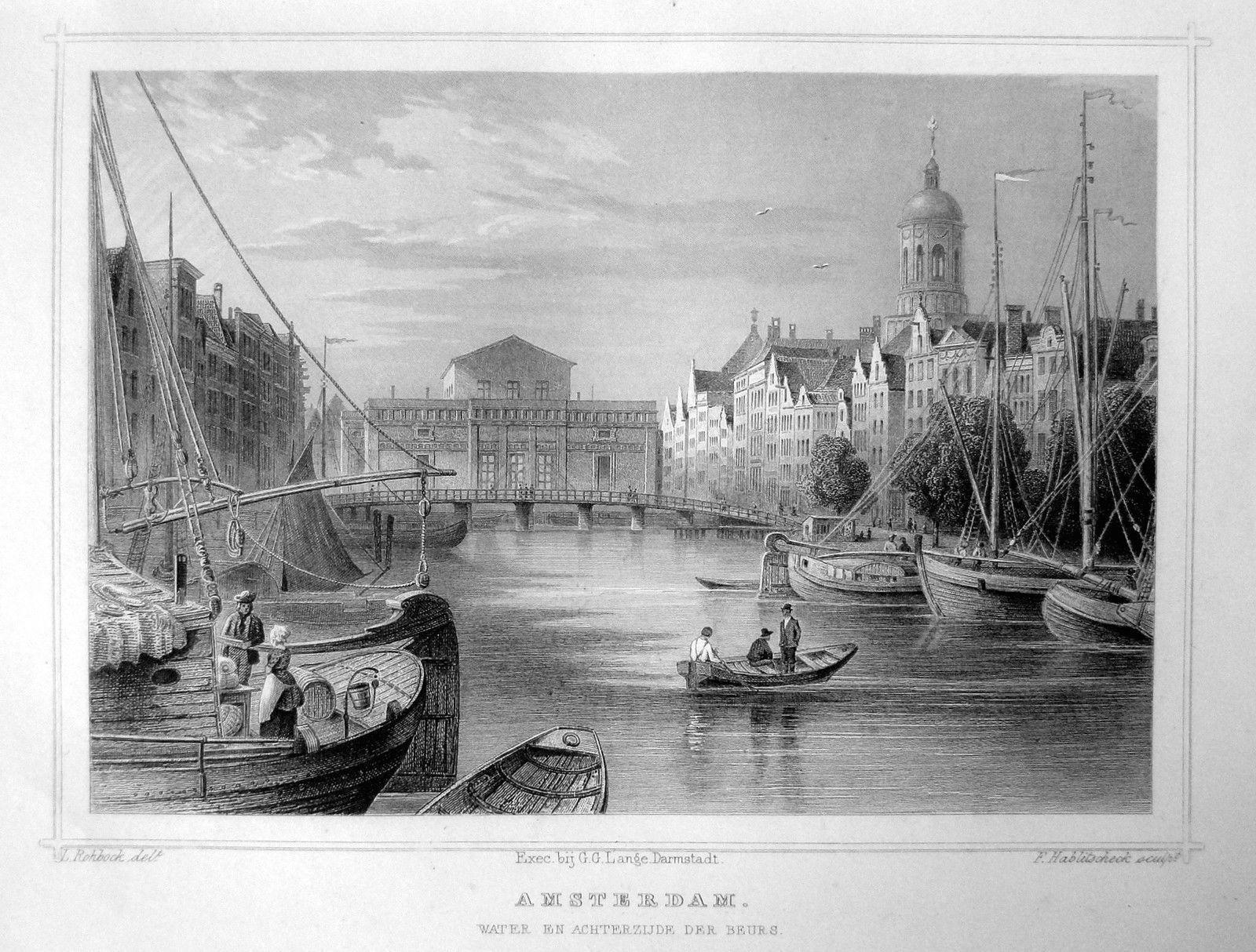 Amsterdam-Achterzijde de Beurs | Herkomst : J.L. Terwen - Het Koningrijk der Nederlanden, afm. 14 x 20 cm Staalgravure 1860