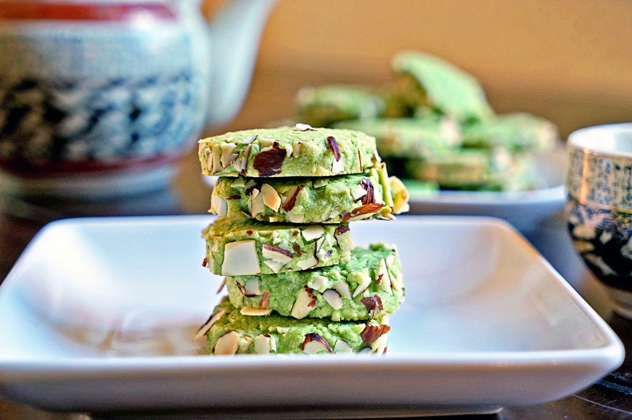 Macha Green Tea Almond Shortbread Cookies2 yaaaay!!!