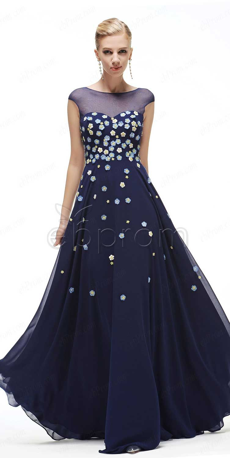 Floral prom dresses navy blue prom dresses cap sleeves cap sleeves modest  prom dress long pageant dresses formal dress b388778d3