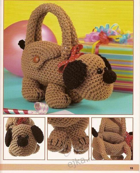 424b3cff3b5b Маленькие сумочки - зверюшки для девочек своими руками - вязание крючком,  мастер класс