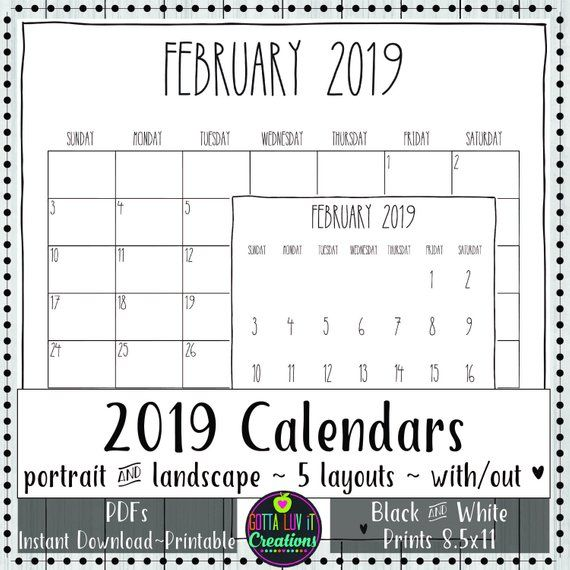 2019 Printables Monthly Calendars PDF Calendars New Year Calendars