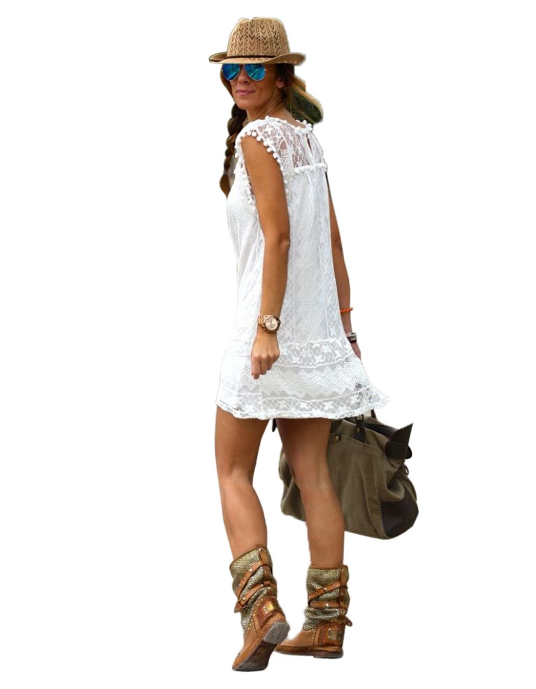 Sexy Casual Cap Sleeve Crochet Lace Hollow Fringe Solid A-Line Short Dress