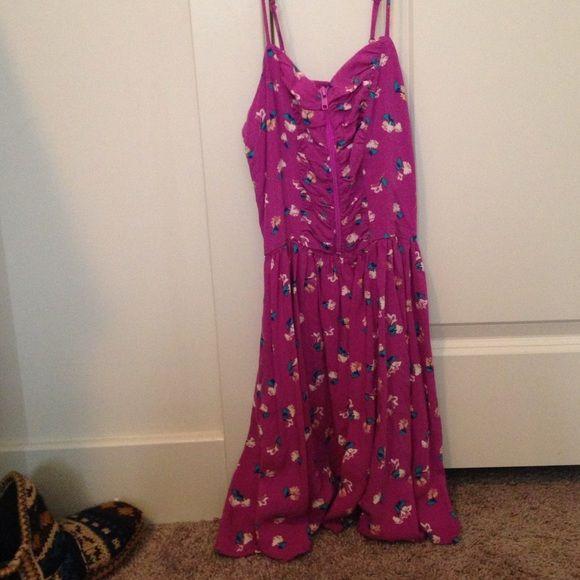 Dress Very cute floral purple dress. Has a zipper for adjustable bust sizes! Xhilaration Dresses