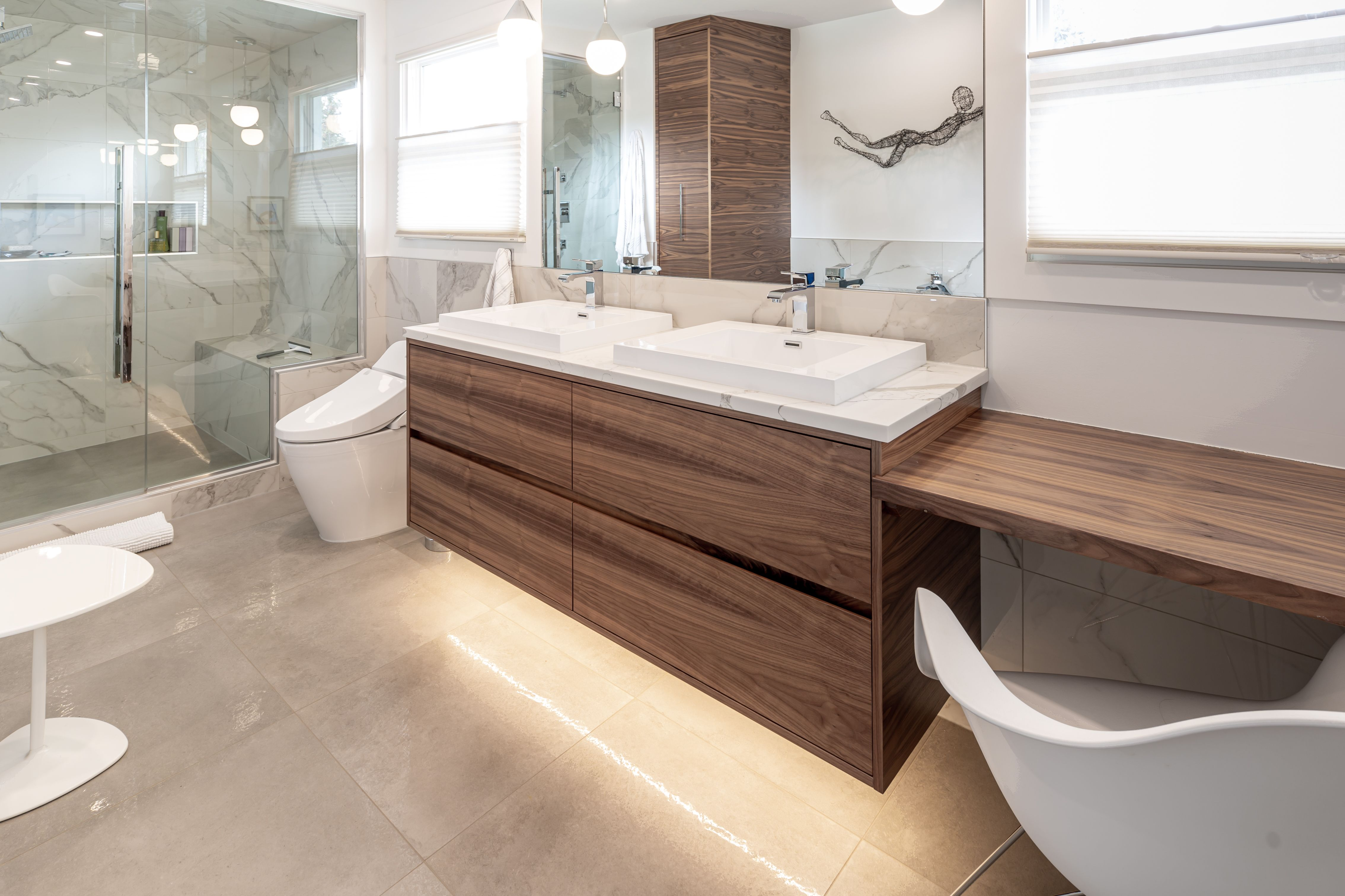 Custom Cabinets In Edmonton Ab This Spa Bathroom Features Floating Walnut Cabinetry We Can Make Your Dreams A Reali Custom Cabinets Cabinetry Bathroom Spa
