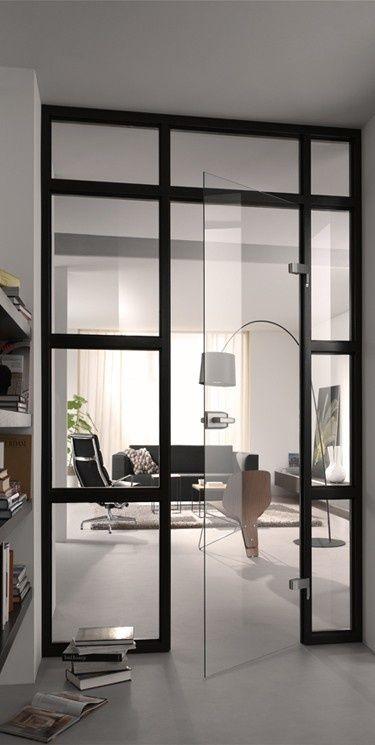 Verbazingwekkend Glazen deur in chique zwart kozijn voor een stoer industrieel loft HY-48