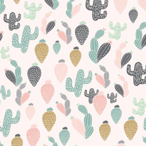 Quirky Cactus Wallpaper Boho Wallpaper Wallpaper Girls Bedroom Wallpaper