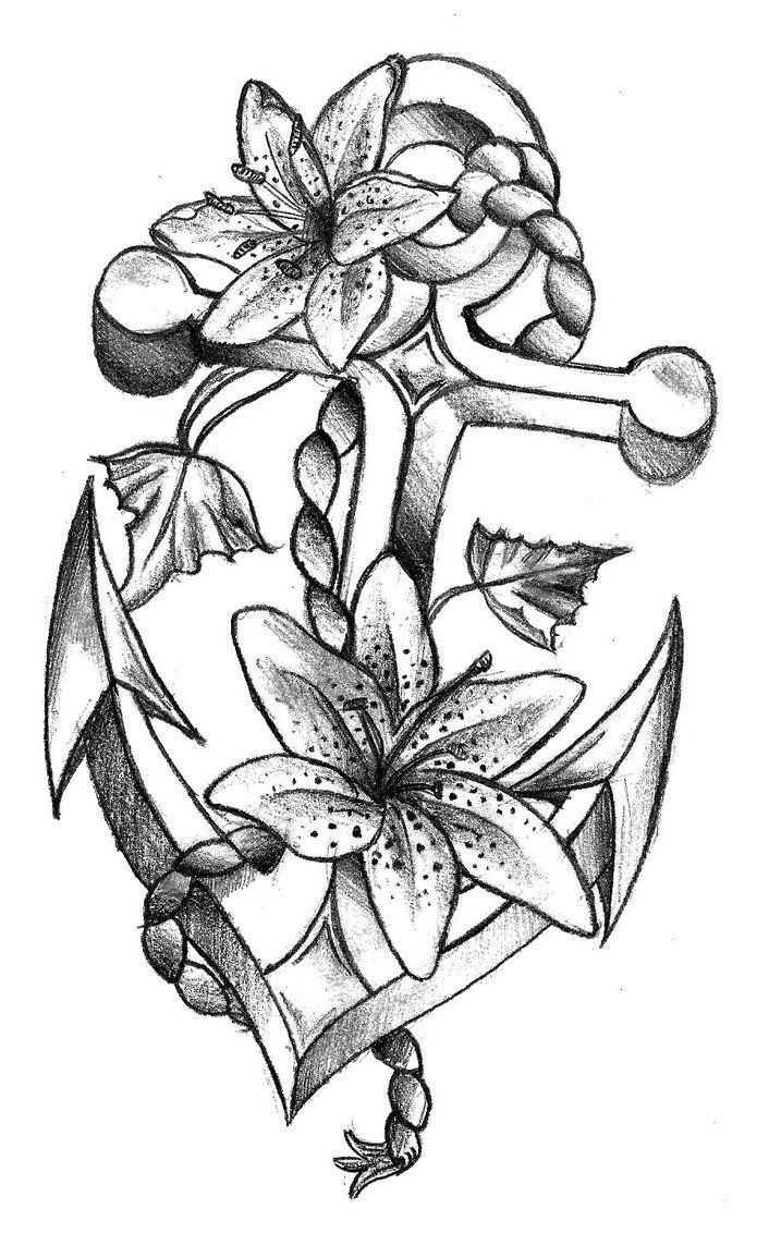 Anchor and Flowers Tattoo design. *** See more by clicking