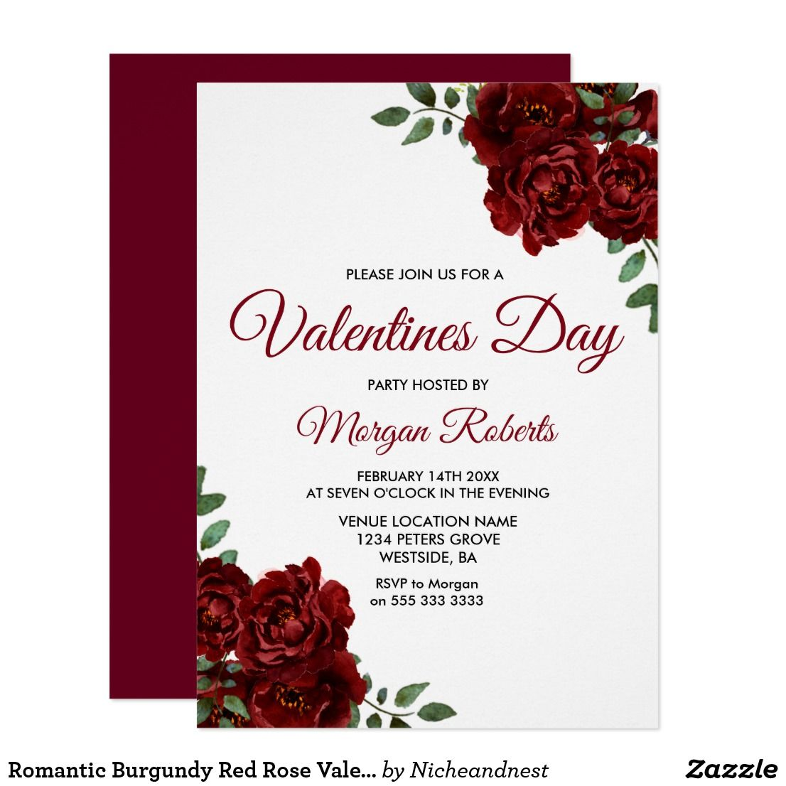 Romantic Burgundy Red Rose Valentines Day Party Invitation ...