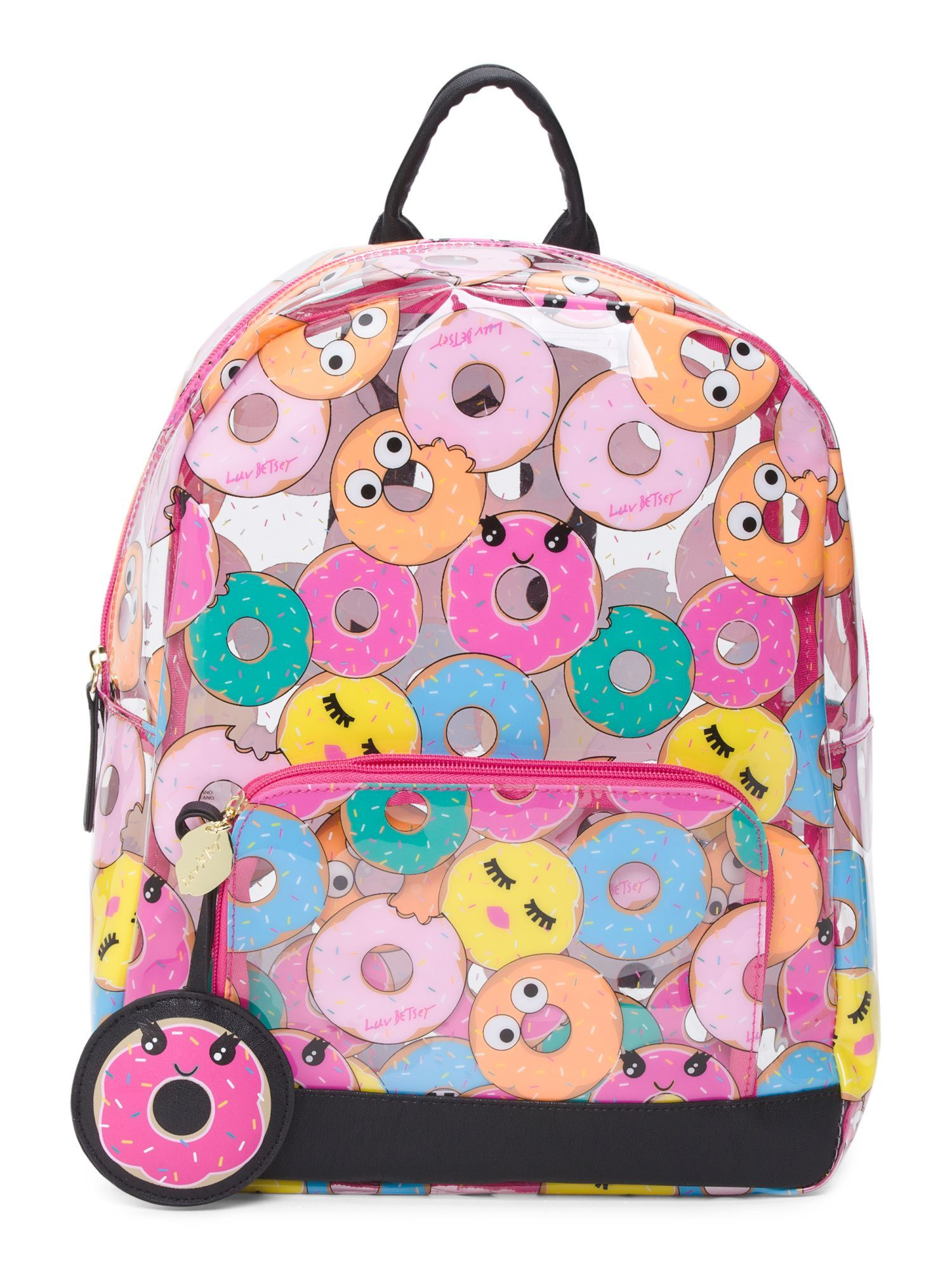 8f185b3491 Back To School Shopping · Clear Donut Print Backpack Backpack Straps,  Leather Backpack, Leather Bags, Lightweight Luggage,