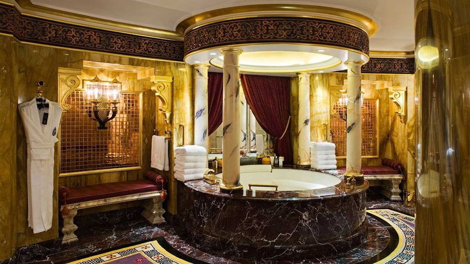 Luxury Gold Bathroom Decorating Ideas With Jacuzzi Design Indoor Design And  Romantic Red Curtains Ideas Also