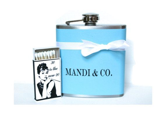 30th Birthday Gift Set Tiffany Blue Flask Audrey By LocaDesign 3000
