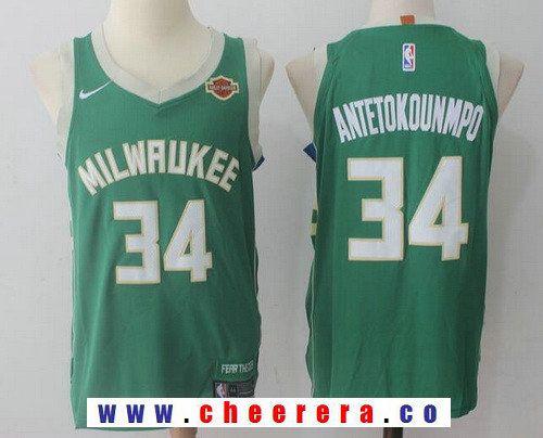 183a4221a053 Men s Milwaukee Bucks  34 Giannis Antetokounmpo Green 2017-2018 Nike  Swingman Harley Davidson Stitched NBA Jersey