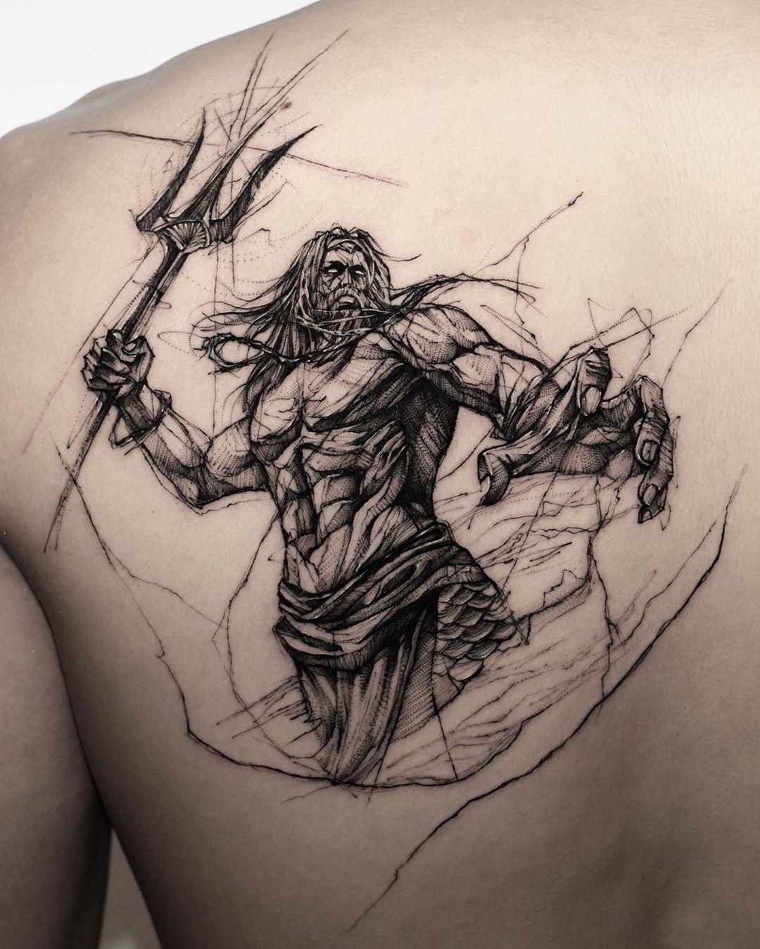 Wassermann Poseidon Tattoo Mythology Tattoos Mermaid Tattoos
