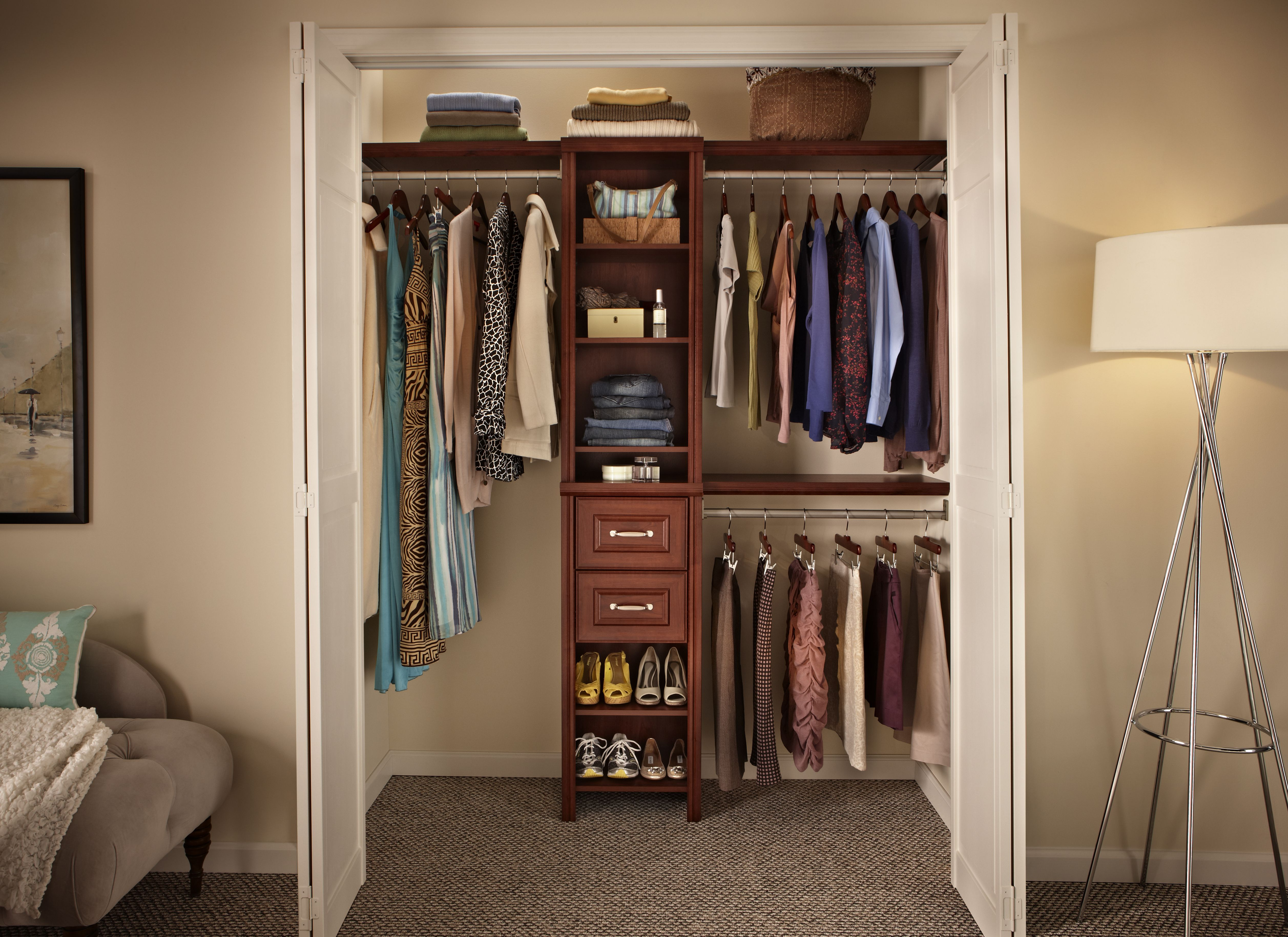 small walk in closet with white folding interior door feat tall narrow brown wooden shelves for shoes and 2 drawers cool designs ideas of small walk in - Closetmaid Design Ideas