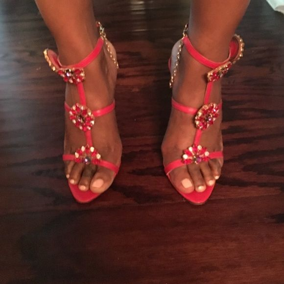 Sacco sandals Real crystals red leather real snakeskin Sacco  Shoes Sandals